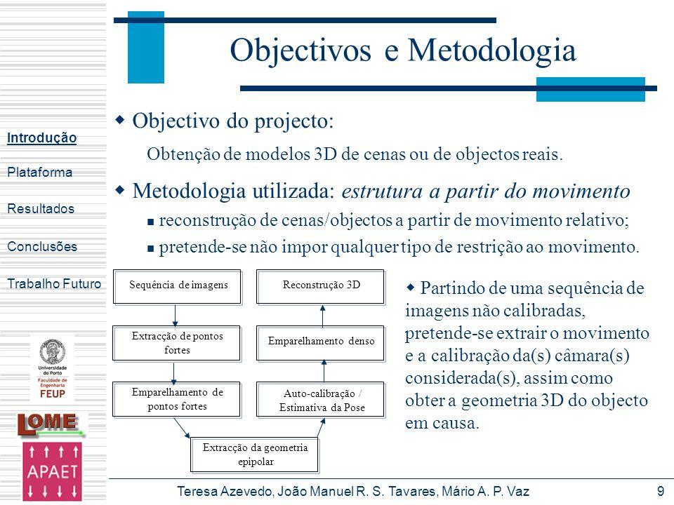 Teresa Azevedo, João Manuel R. S. Tavares, Mário A. P. Vaz9 Objectivos e Metodologia Partindo de uma sequência de imagens não calibradas, pretende-se