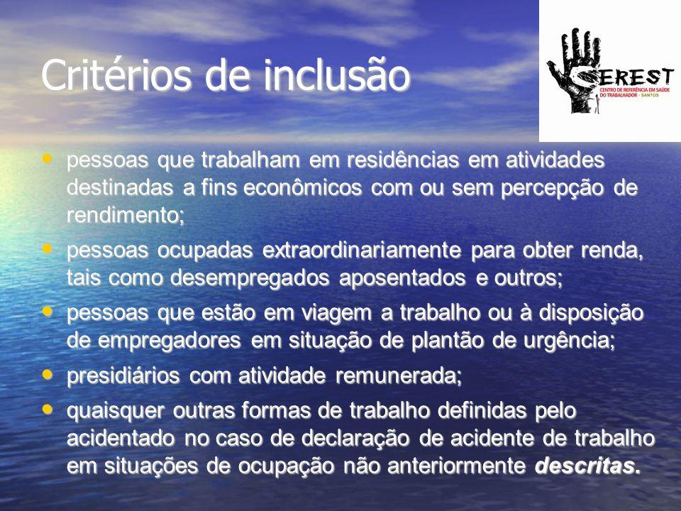 Critérios de inclusão pessoas que trabalham em residências em atividades destinadas a fins econômicos com ou sem percepção de rendimento; pessoas que