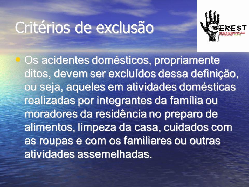 Critérios de exclusão Os acidentes domésticos, propriamente ditos, devem ser excluídos dessa definição, ou seja, aqueles em atividades domésticas real