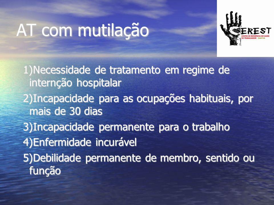 AT com mutilação 1)Necessidade de tratamento em regime de internção hospitalar 2)Incapacidade para as ocupações habituais, por mais de 30 dias 3)Incap