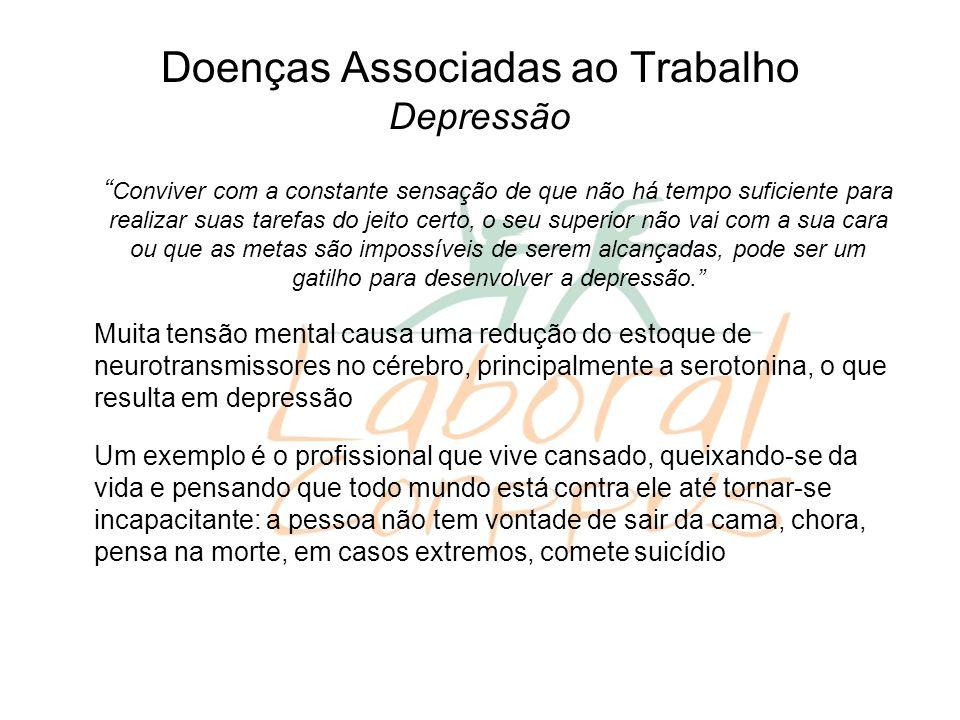 Doenças Associadas ao Trabalho Depressão Conviver com a constante sensação de que não há tempo suficiente para realizar suas tarefas do jeito certo, o