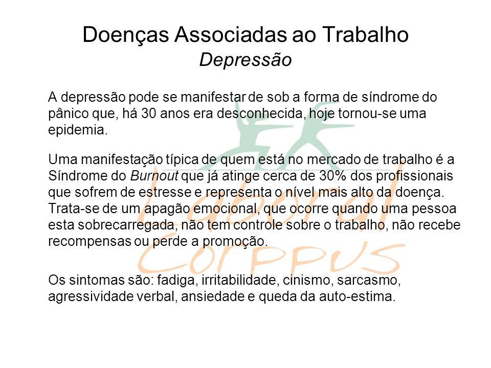 Doenças Associadas ao Trabalho Depressão A depressão pode se manifestar de sob a forma de síndrome do pânico que, há 30 anos era desconhecida, hoje to