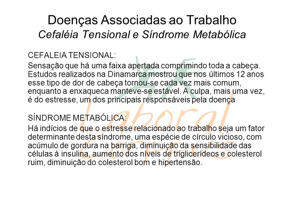 Doenças Associadas ao Trabalho Cefaléia Tensional e Síndrome Metabólica CEFALEIA TENSIONAL: Sensação que há uma faixa apertada comprimindo toda a cabeça.