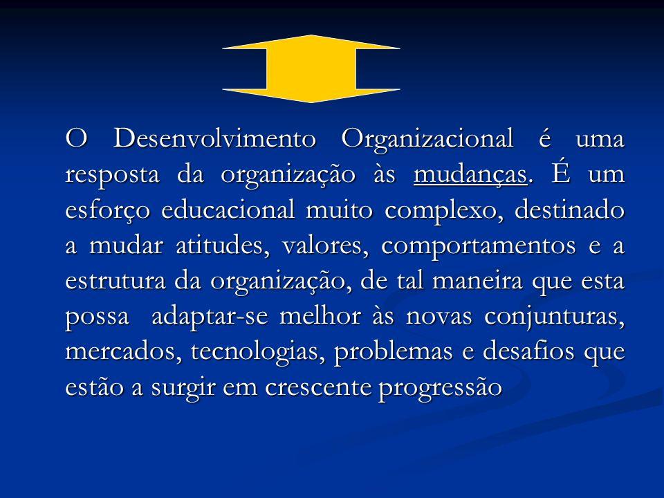 O Desenvolvimento Organizacional é uma resposta da organização às mudanças. É um esforço educacional muito complexo, destinado a mudar atitudes, valor
