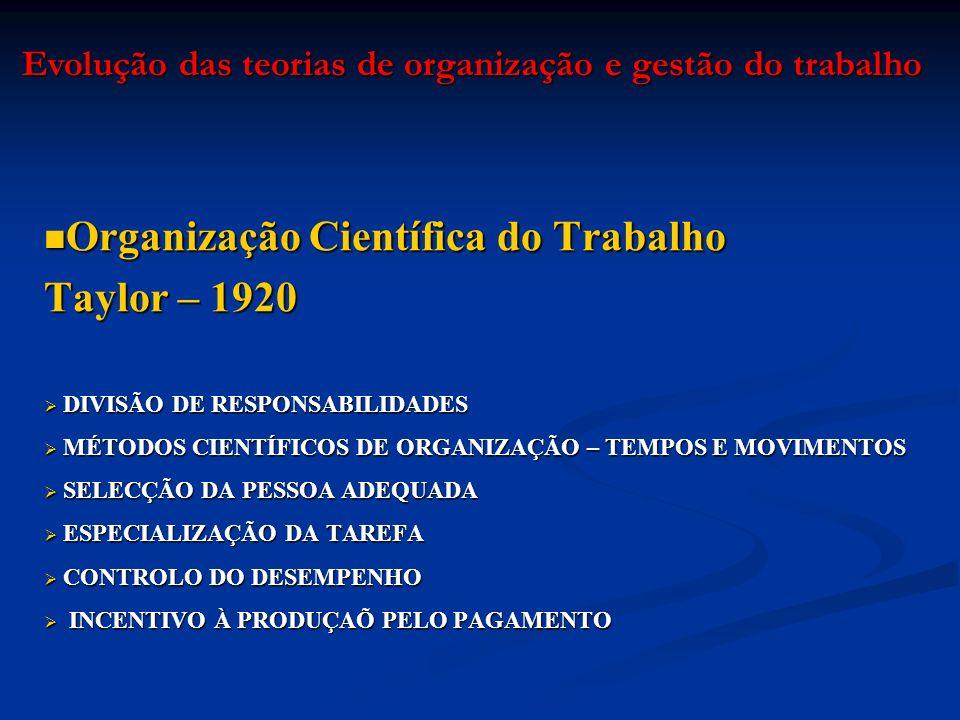 Organização Científica do Trabalho Organização Científica do Trabalho Taylor – 1920 DIVISÃO DE RESPONSABILIDADES DIVISÃO DE RESPONSABILIDADES MÉTODOS