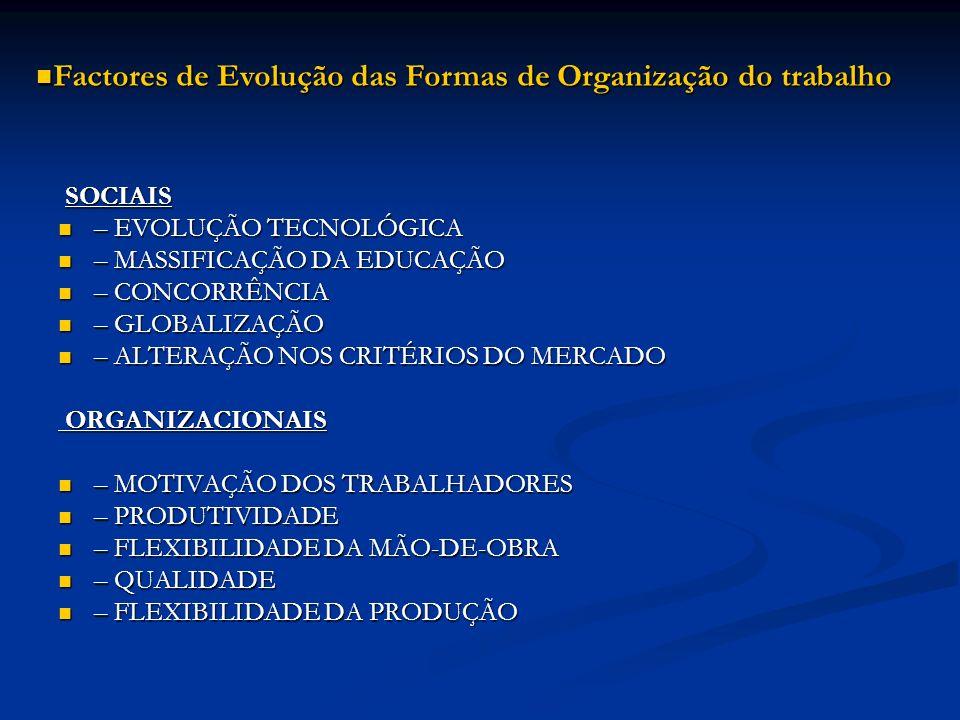 VARIEDADE ÓPTIMA DE TAREFAS VARIEDADE ÓPTIMA DE TAREFAS TAREFAS RELACIONÁVEIS TAREFAS RELACIONÁVEIS AMPLITUDE ÓPTIMA DO CICLO DE TRABALHO AMPLITUDE ÓPTIMA DO CICLO DE TRABALHO PADRÕES QUALITATIVOS E QUANTITATIVOS PADRÕES QUALITATIVOS E QUANTITATIVOS INFORMAÇÃO DOS RESULTADOS INFORMAÇÃO DOS RESULTADOS INCLUSÃO DE TAREFAS AUXILIARES INCLUSÃO DE TAREFAS AUXILIARES PATRÃO MERECEDOR DE RESPEITO PATRÃO MERECEDOR DE RESPEITO PROXIMIDADE DA EMPRESA E DOS CONCORRENTES PARA O MESMO PRODUTO PROXIMIDADE DA EMPRESA E DOS CONCORRENTES PARA O MESMO PRODUTO CANAIS DE COMUNICAÇÃO INTERNOS CANAIS DE COMUNICAÇÃO INTERNOS NOVAS FORMAS DE ORGANIZAÇÃO DO TRABALHO – PRINCÍPIOS