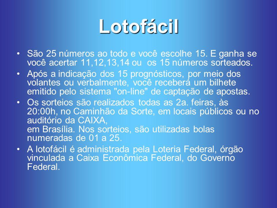 Lotofácil São 25 números ao todo e você escolhe 15.