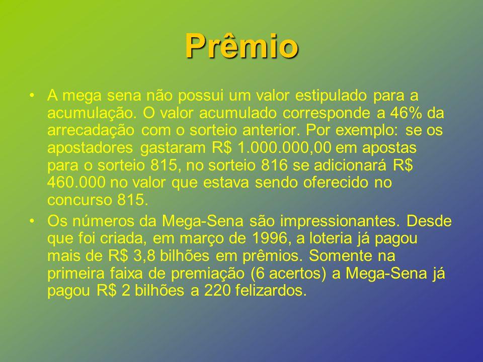 Prêmio A mega sena não possui um valor estipulado para a acumulação.
