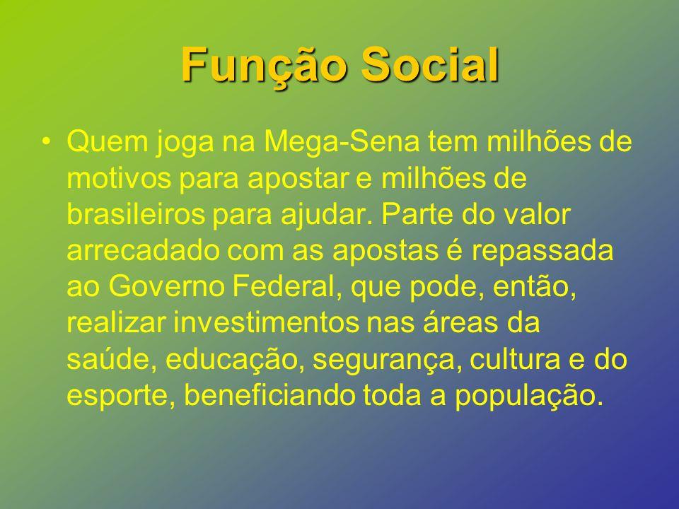 Função Social Quem joga na Mega-Sena tem milhões de motivos para apostar e milhões de brasileiros para ajudar.