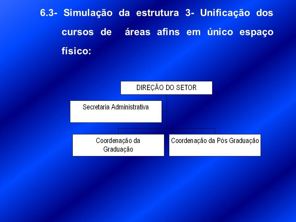 6.2- Simulação da estrutura 2– Unificação das coordenações em uma unidade administrativa de atendimento ao discente e os departamentos separados por curso de graduação: