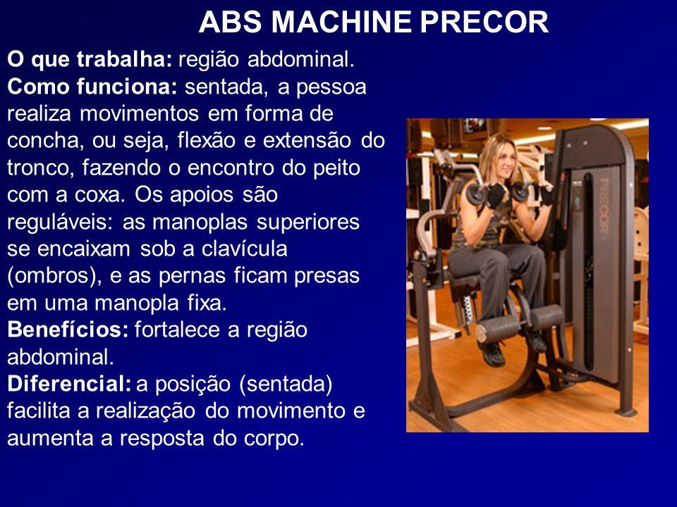 O que trabalha: região abdominal. Como funciona: sentada, a pessoa realiza movimentos em forma de concha, ou seja, flexão e extensão do tronco, fazend