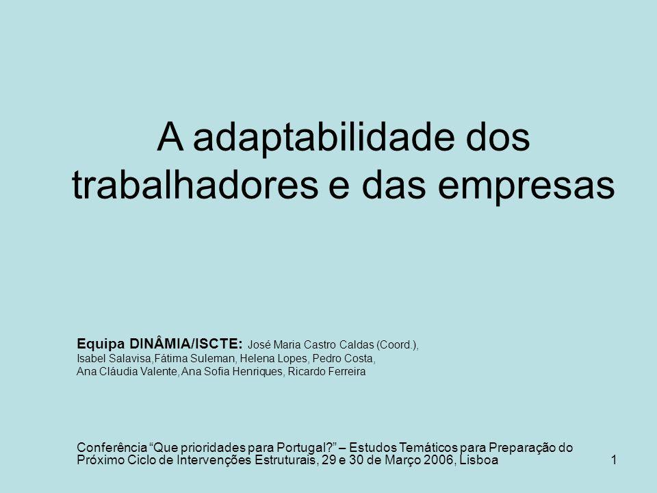 1 A adaptabilidade dos trabalhadores e das empresas Equipa DINÂMIA/ISCTE: José Maria Castro Caldas (Coord.), Isabel Salavisa,Fátima Suleman, Helena Lo