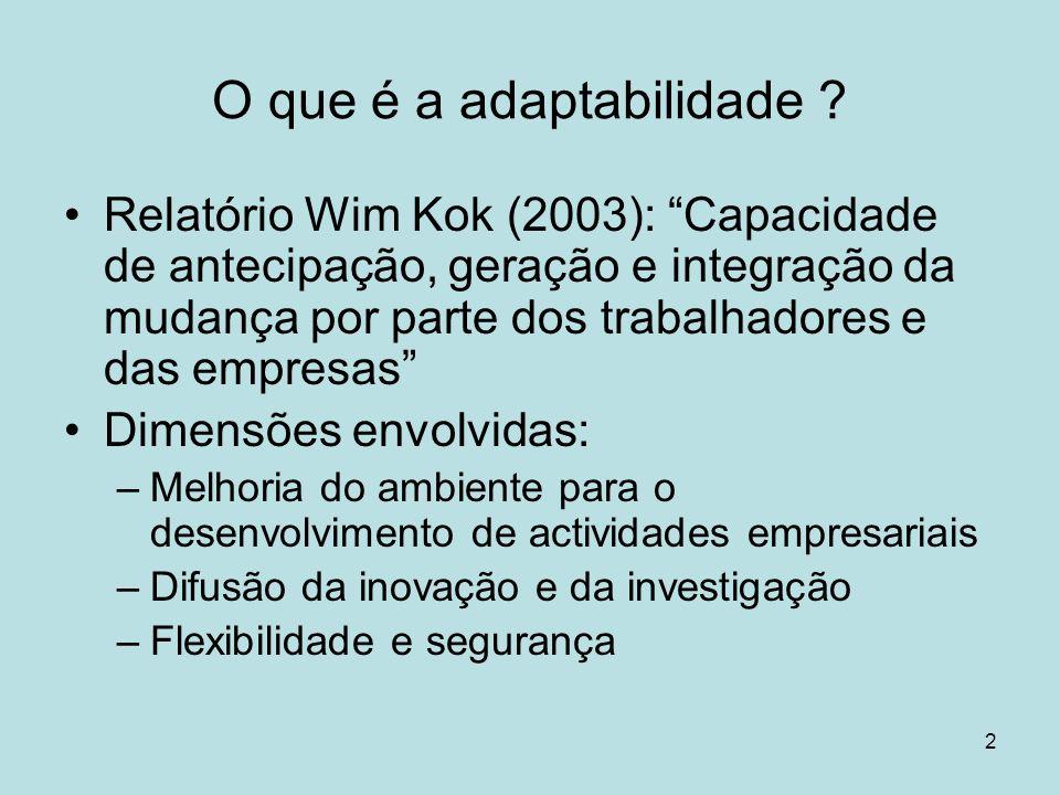 2 O que é a adaptabilidade ? Relatório Wim Kok (2003): Capacidade de antecipação, geração e integração da mudança por parte dos trabalhadores e das em