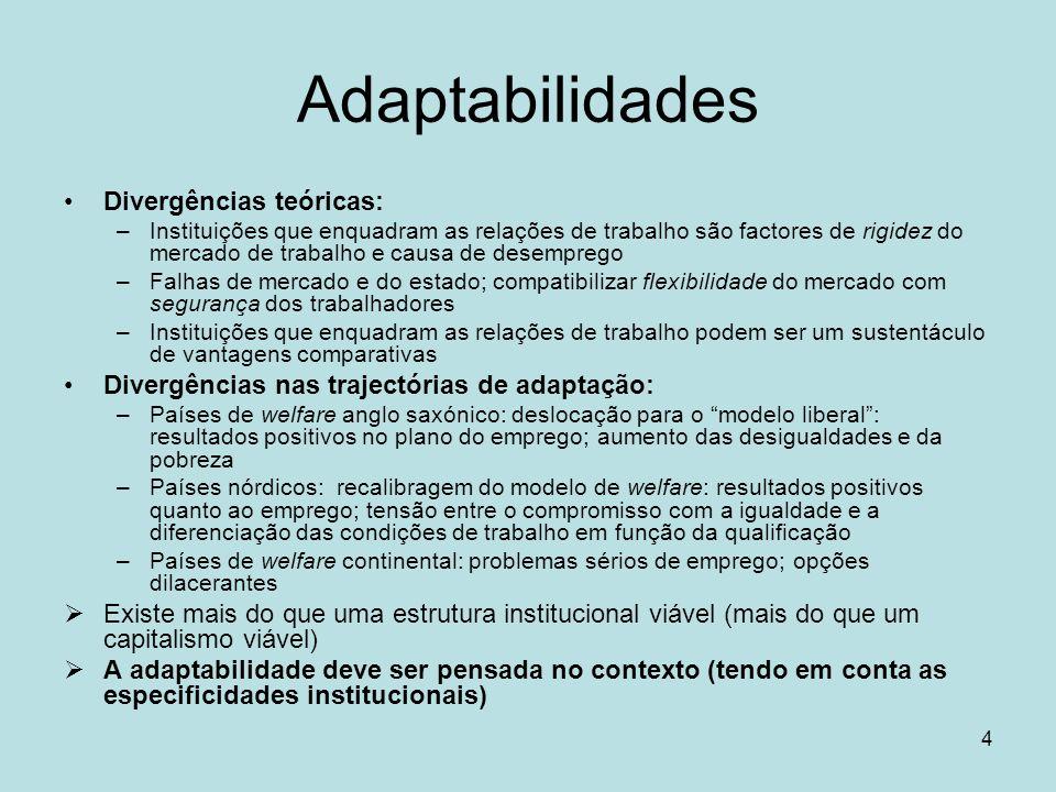 4 Adaptabilidades Divergências teóricas: –Instituições que enquadram as relações de trabalho são factores de rigidez do mercado de trabalho e causa de