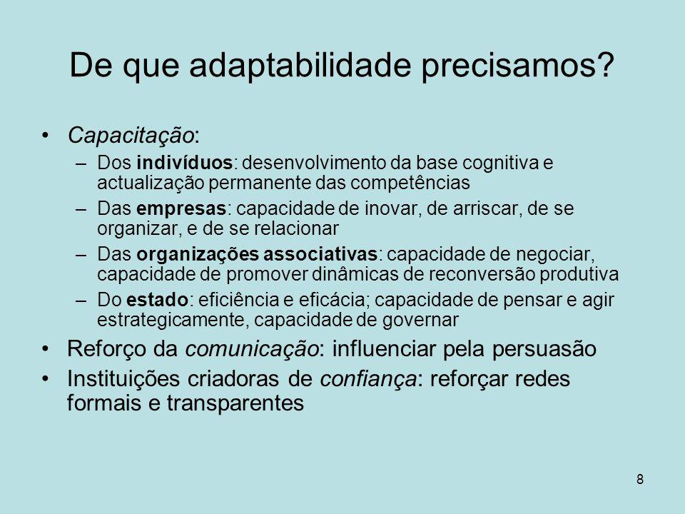 8 De que adaptabilidade precisamos? Capacitação: –Dos indivíduos: desenvolvimento da base cognitiva e actualização permanente das competências –Das em