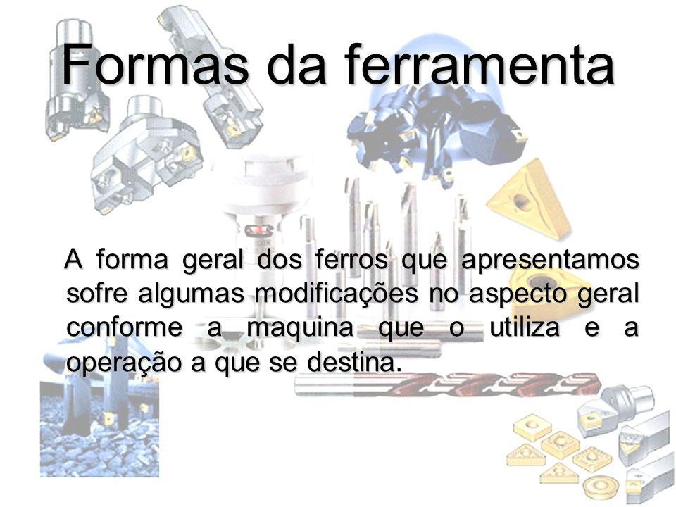 Formas da ferramenta A forma geral dos ferros que apresentamos sofre algumas modificações no aspecto geral conforme a maquina que o utiliza e a operaç