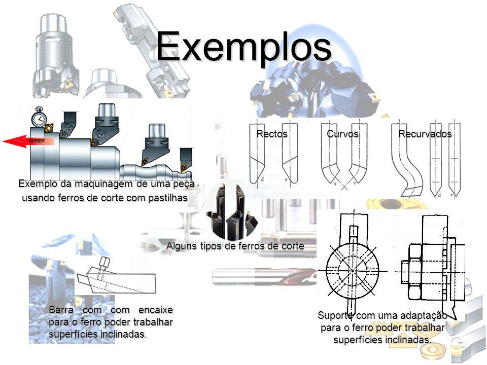 Exemplos Exemplo da maquinagem de uma peça usando ferros de corte com pastilhas Suporte com uma adaptação para o ferro poder trabalhar superfícies inc