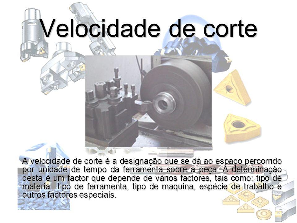 Velocidade de corte A velocidade de corte é a designação que se dá ao espaço percorrido por unidade de tempo da ferramenta sobre a peça. A determinaçã