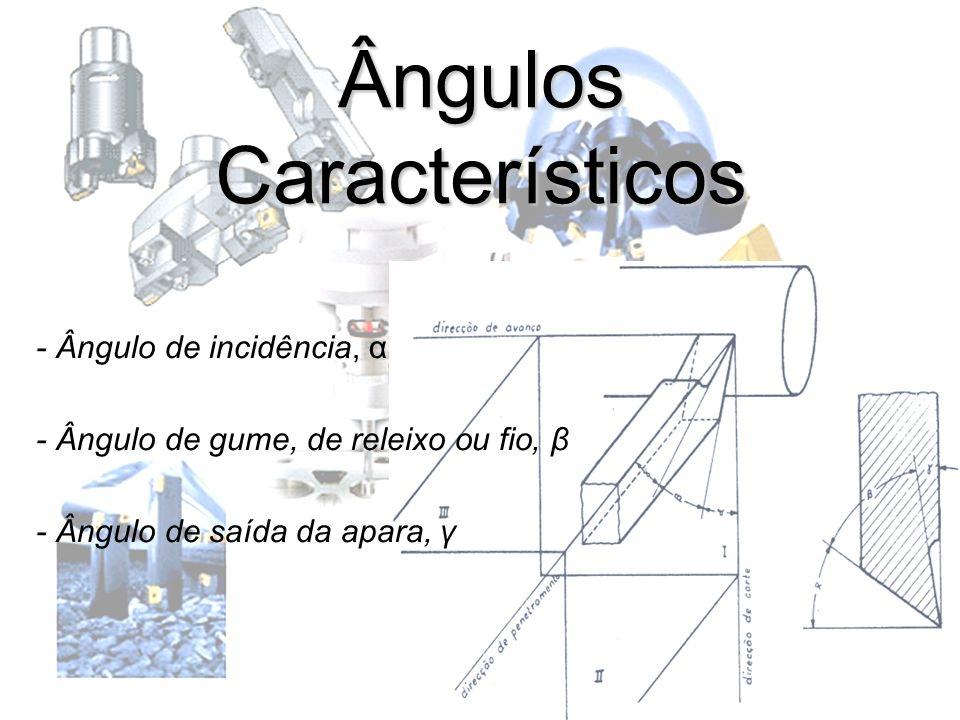 Ângulos Característicos - Ângulo de incidência, α - Ângulo de gume, de releixo ou fio, β - Ângulo de saída da apara, γ