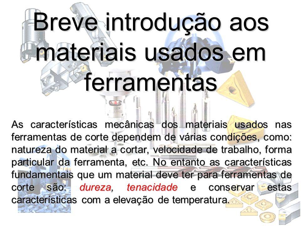 Breve introdução aos materiais usados em ferramentas As características mecânicas dos materiais usados nas ferramentas de corte dependem de várias con