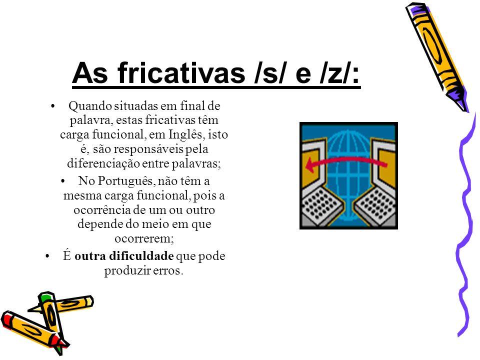 As fricativas interdentais – θ e. O famoso th; Não encontra qualquer correspondente no Português; Para soar certa, a língua tem de ser colocada entre