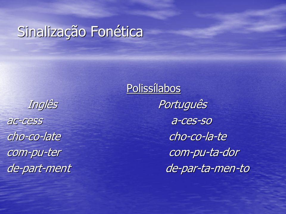 Sinalização Fonética Quantidade de som articulado (sílaba) por unidade de significado (palavra). Diferentes línguas diferentes graus de sinalização fo