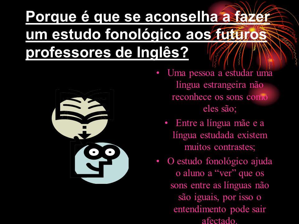 Português Vs. Inglês Diferenças de Pronúncia: aparelho fonador: limitado maior importância das diferenças na articulação de sons Resultado: a pronúnci