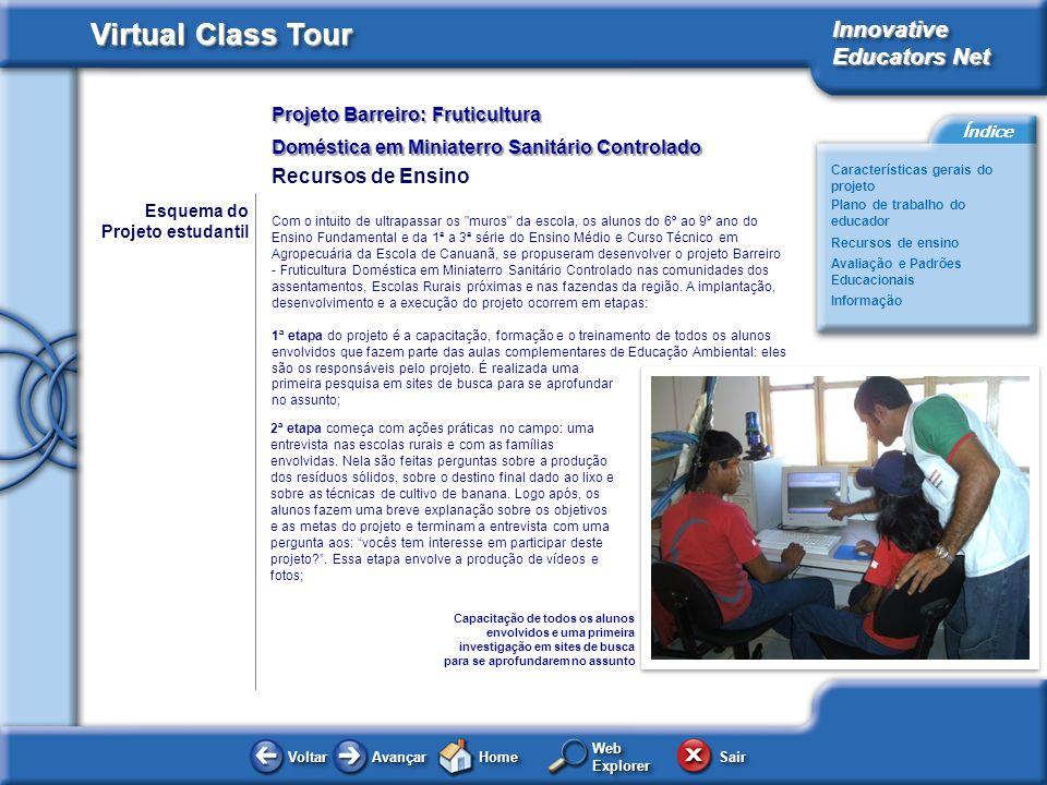 Projeto Barreiro: Fruticultura Doméstica em Miniaterro Sanitário Controlado Innovative Educators Net Virtual Class Tour Voltar Avançar HomeHome WebExp
