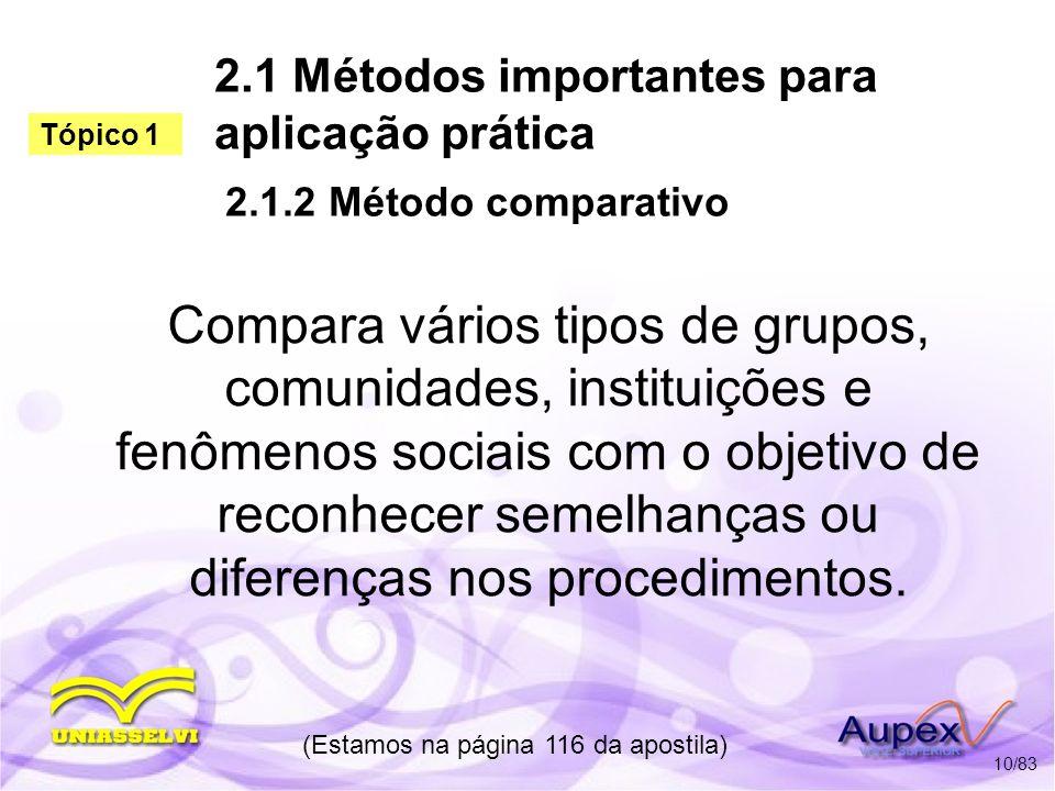 2.1 Métodos importantes para aplicação prática 2.1.2 Método comparativo Compara vários tipos de grupos, comunidades, instituições e fenômenos sociais