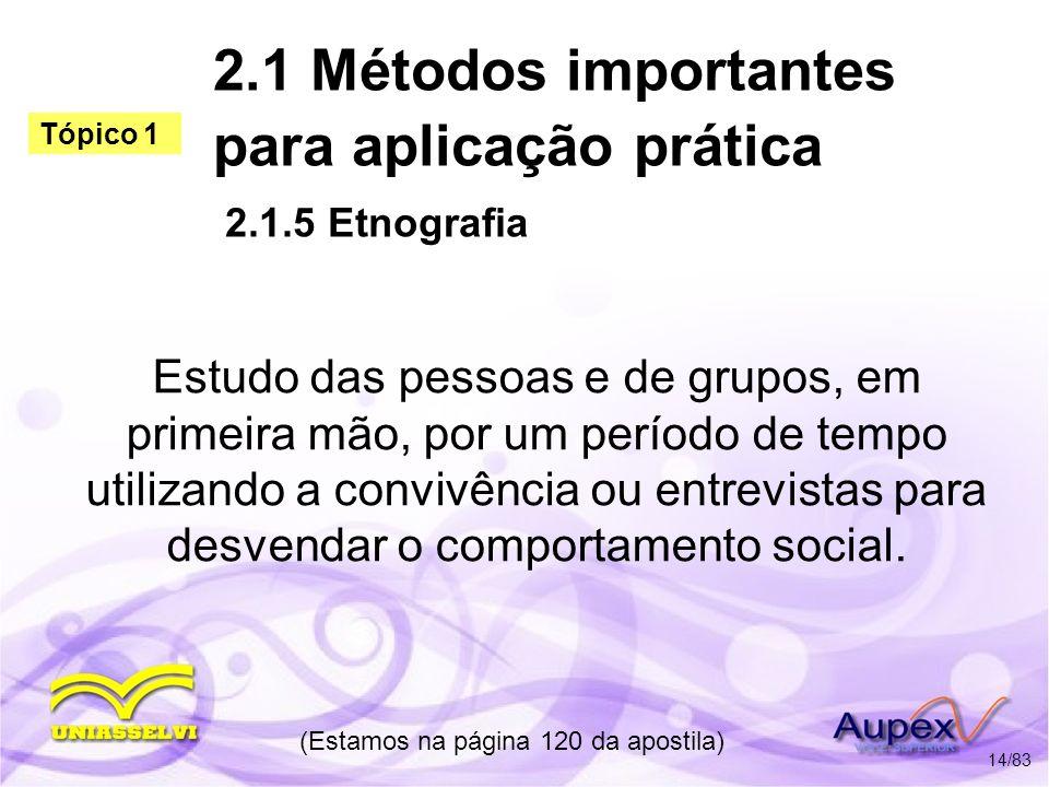 2.1 Métodos importantes para aplicação prática 2.1.5 Etnografia Estudo das pessoas e de grupos, em primeira mão, por um período de tempo utilizando a