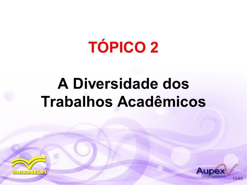 TÓPICO 2 A Diversidade dos Trabalhos Acadêmicos 15/83