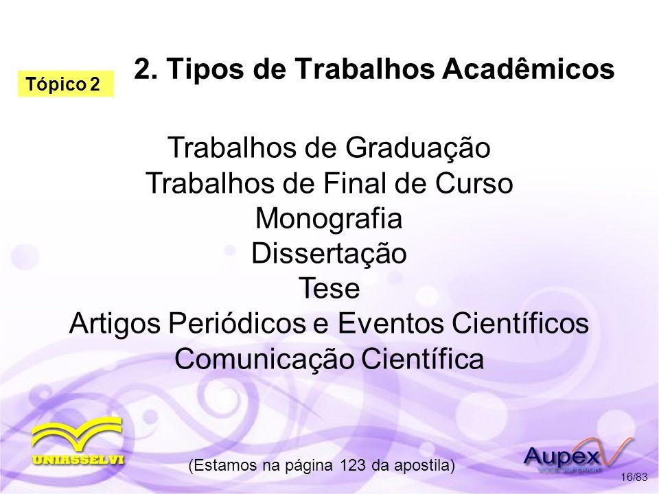 2. Tipos de Trabalhos Acadêmicos Trabalhos de Graduação Trabalhos de Final de Curso Monografia Dissertação Tese Artigos Periódicos e Eventos Científic