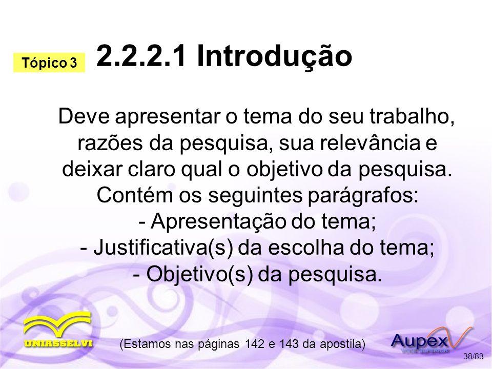 2.2.2.1 Introdução Deve apresentar o tema do seu trabalho, razões da pesquisa, sua relevância e deixar claro qual o objetivo da pesquisa. Contém os se