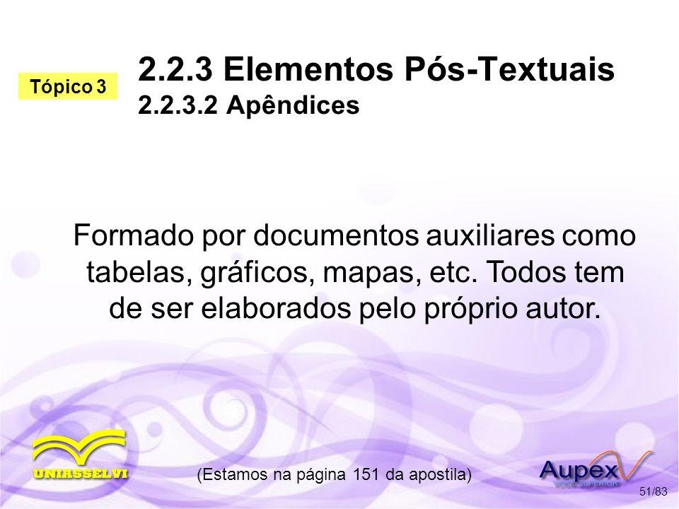 2.2.3 Elementos Pós-Textuais 2.2.3.2 Apêndices Formado por documentos auxiliares como tabelas, gráficos, mapas, etc. Todos tem de ser elaborados pelo