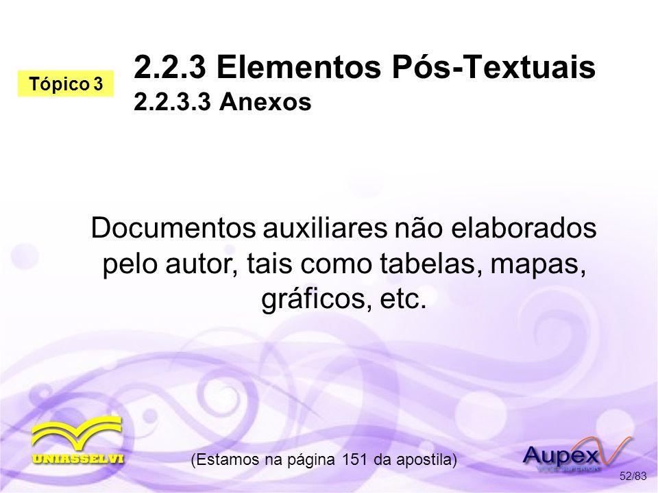 2.2.3 Elementos Pós-Textuais 2.2.3.3 Anexos Documentos auxiliares não elaborados pelo autor, tais como tabelas, mapas, gráficos, etc. (Estamos na pági