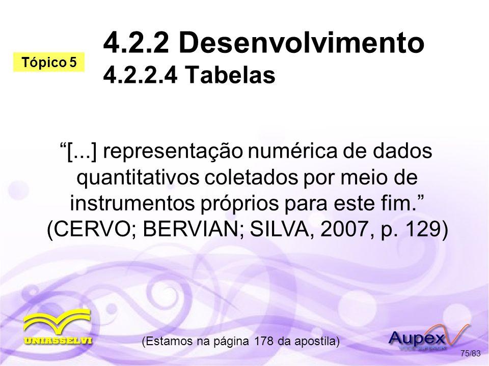 4.2.2 Desenvolvimento 4.2.2.4 Tabelas [...] representação numérica de dados quantitativos coletados por meio de instrumentos próprios para este fim. (