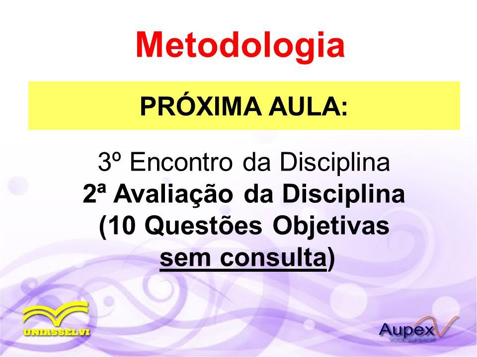 PRÓXIMA AULA: Metodologia 3º Encontro da Disciplina 2ª Avaliação da Disciplina (10 Questões Objetivas sem consulta)