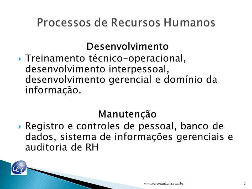 Desenvolvimento Treinamento técnico-operacional, desenvolvimento interpessoal, desenvolvimento gerencial e domínio da informação.