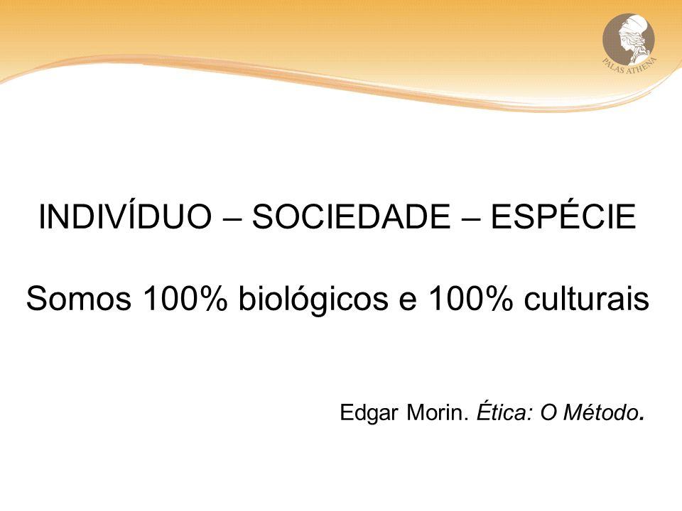INDIVÍDUO – SOCIEDADE – ESPÉCIE Somos 100% biológicos e 100% culturais Edgar Morin.