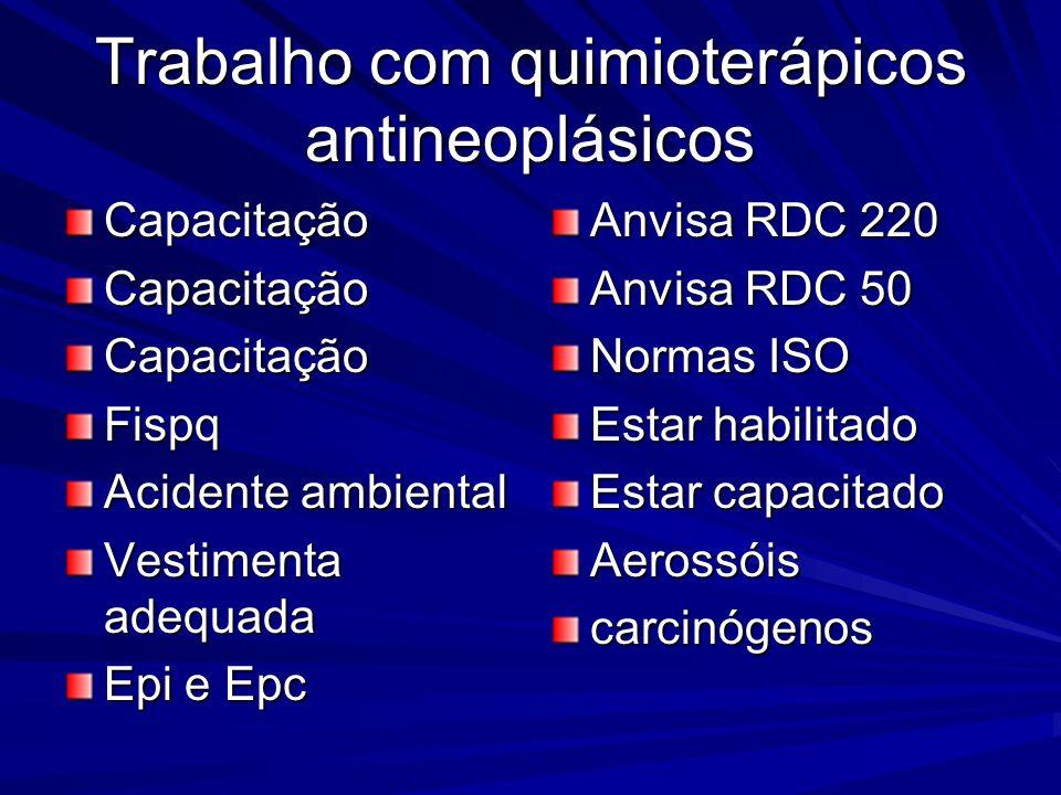 Trabalho com quimioterápicos antineoplásicos CapacitaçãoCapacitaçãoCapacitaçãoFispq Acidente ambiental Vestimenta adequada Epi e Epc Anvisa RDC 220 An