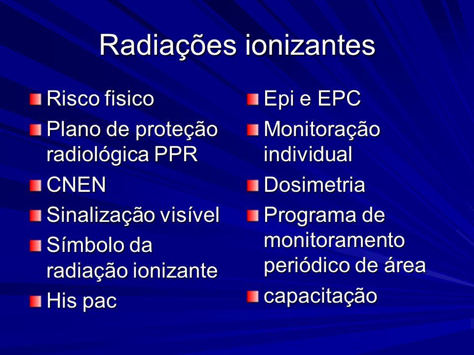 Radiações ionizantes Risco fisico Plano de proteção radiológica PPR CNEN Sinalização visível Símbolo da radiação ionizante His pac Epi e EPC Monitoraç