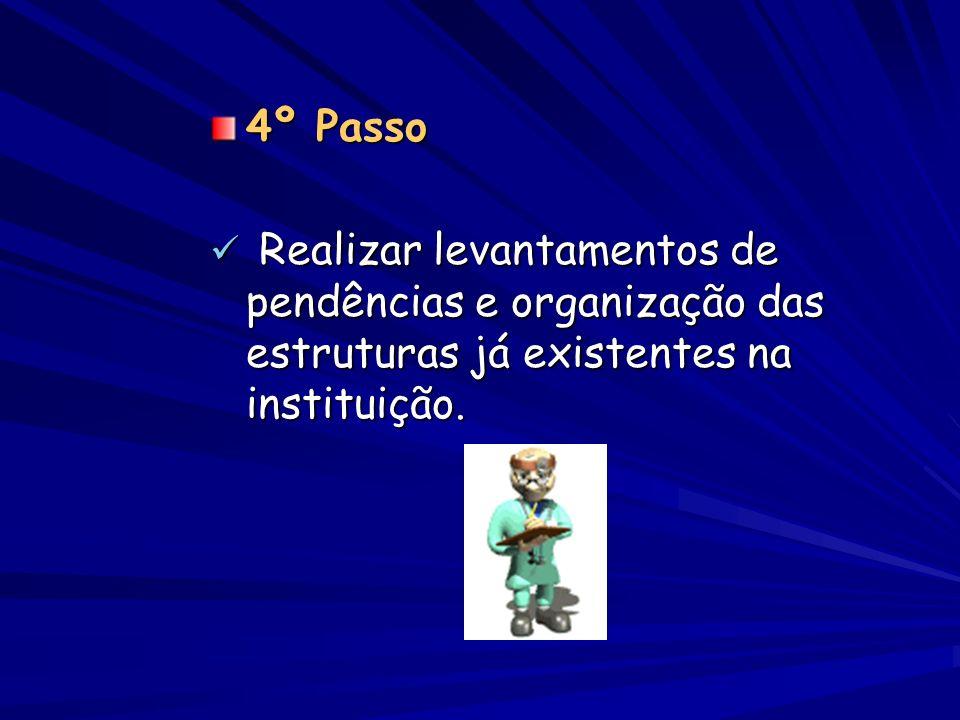4º Passo Realizar levantamentos de pendências e organização das estruturas já existentes na instituição. Realizar levantamentos de pendências e organi