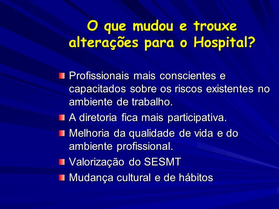 O que mudou e trouxe alterações para o Hospital? Profissionais mais conscientes e capacitados sobre os riscos existentes no ambiente de trabalho. A di
