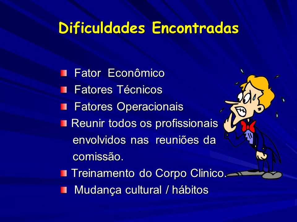 Dificuldades Encontradas Fator Econômico Fator Econômico Fatores Técnicos Fatores Técnicos Fatores Operacionais Fatores Operacionais Reunir todos os p