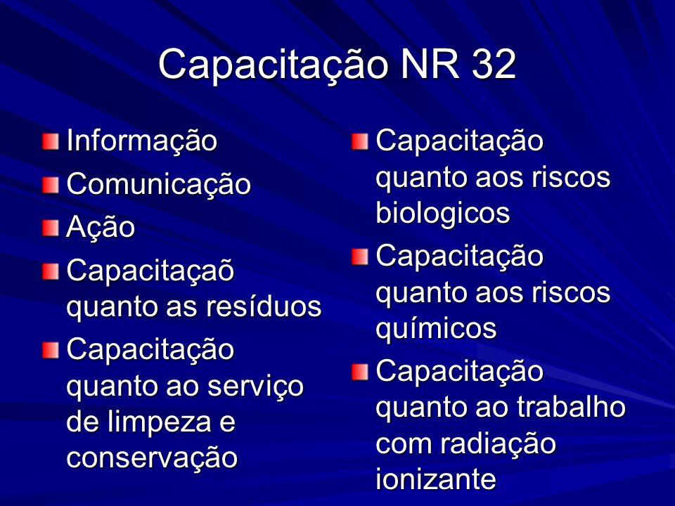 Capacitação NR 32 InformaçãoComunicaçãoAção Capacitaçaõ quanto as resíduos Capacitação quanto ao serviço de limpeza e conservação Capacitação quanto a