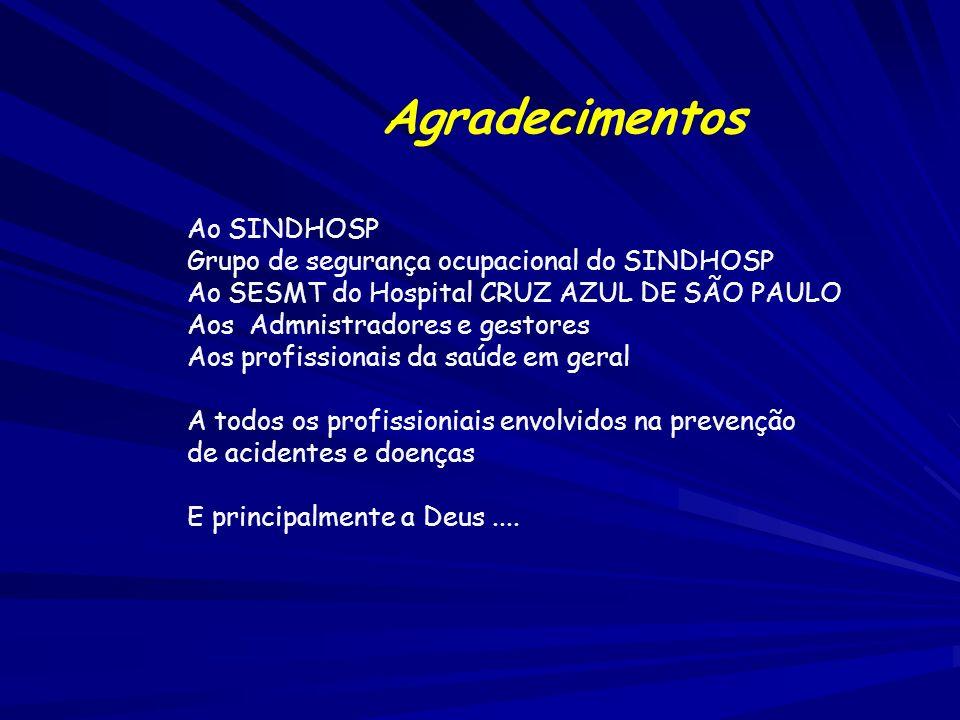 Agradecimentos Ao SINDHOSP Grupo de segurança ocupacional do SINDHOSP Ao SESMT do Hospital CRUZ AZUL DE SÃO PAULO Aos Admnistradores e gestores Aos pr
