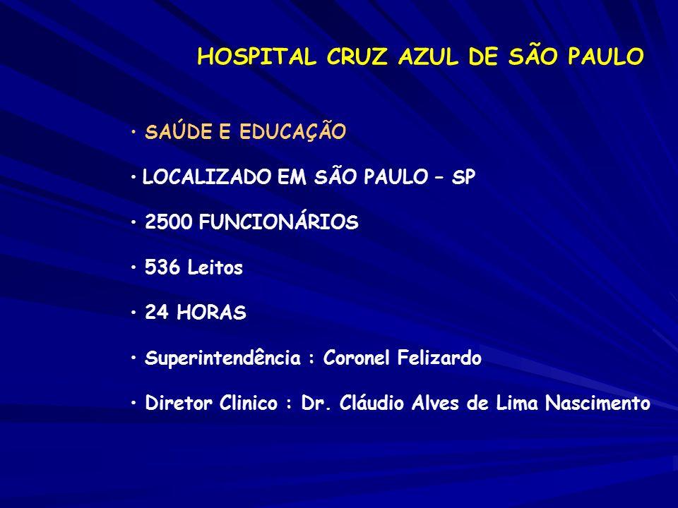 HOSPITAL CRUZ AZUL DE SÃO PAULO SAÚDE E EDUCAÇÃO LOCALIZADO EM SÃO PAULO – SP 2500 FUNCIONÁRIOS 536 Leitos 24 HORAS Superintendência : Coronel Felizar