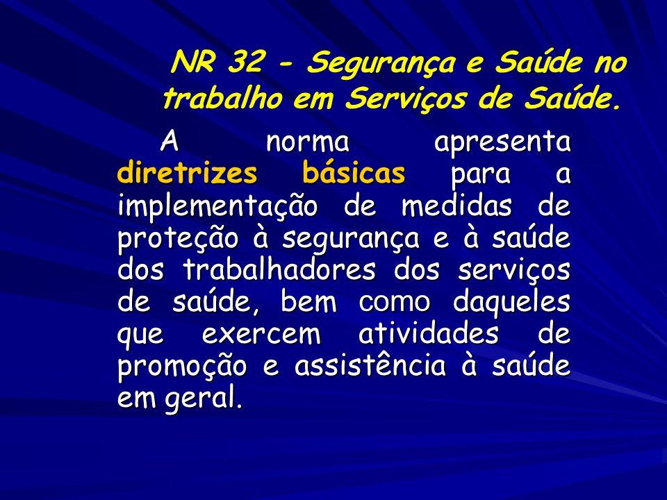 A norma apresenta diretrizes básicas para a implementação de medidas de proteção à segurança e à saúde dos trabalhadores dos serviços de saúde, bem co