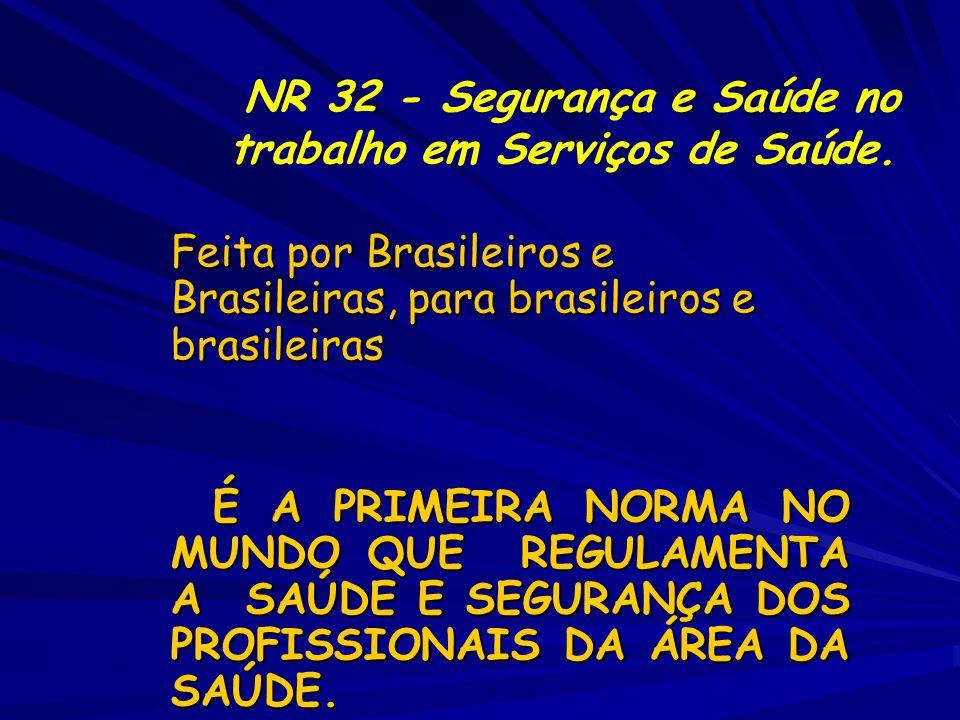 Feita por Brasileiros e Brasileiras, para brasileiros e brasileiras É A PRIMEIRA NORMA NO MUNDO QUE REGULAMENTA A SAÚDE E SEGURANÇA DOS PROFISSIONAIS