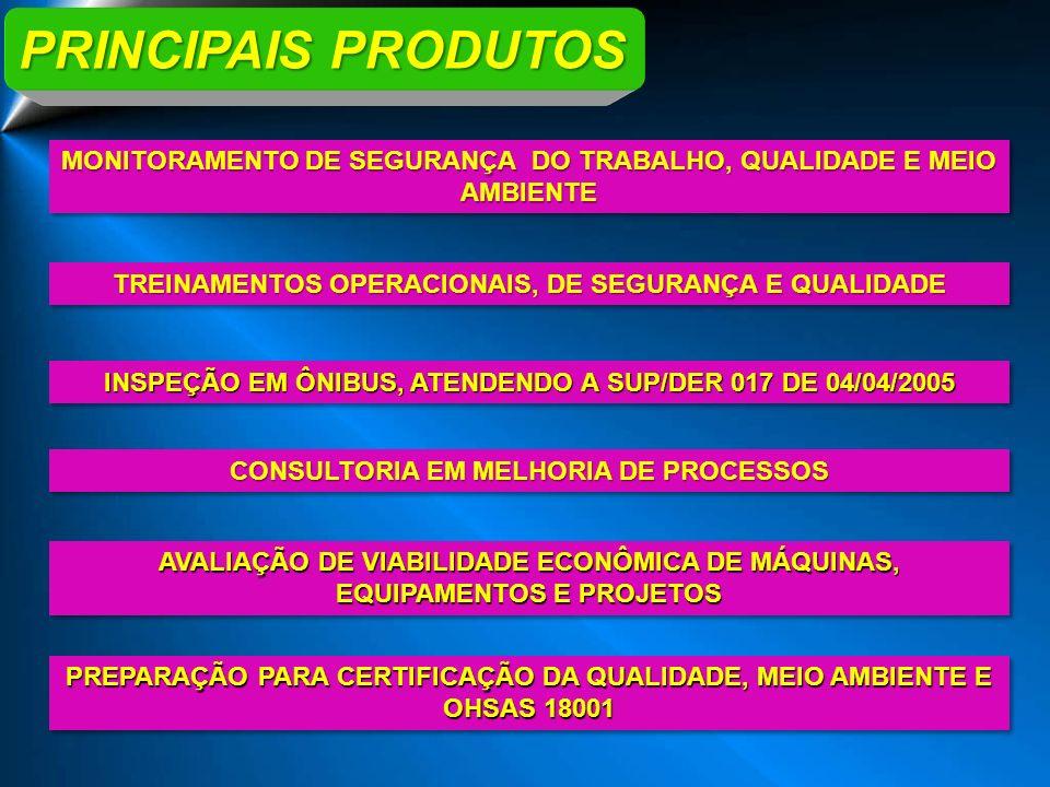 PRINCIPAIS PRODUTOS TREINAMENTOS OPERACIONAIS, DE SEGURANÇA E QUALIDADE INSPEÇÃO EM ÔNIBUS, ATENDENDO A SUP/DER 017 DE 04/04/2005 MONITORAMENTO DE SEG